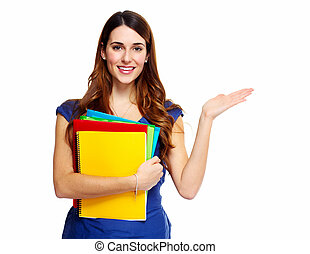 ung kvinna, student, med, a, book.