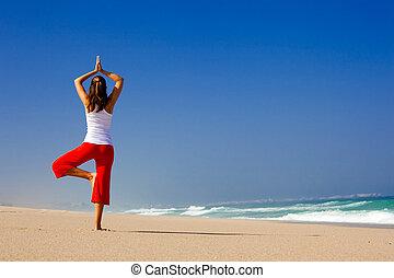 ung kvinna, tillverkning, yoga
