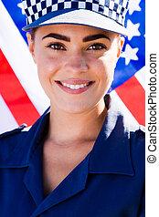 ung, kvinnlig polis