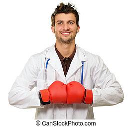 ung läkare, tröttsam, boxning handske, med, händer tillsammans
