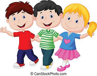 ung, lycklig, tecknad film, barn