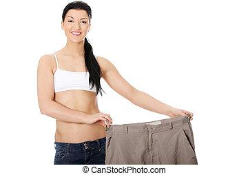 ung, lycklig woman, visande, hur, mycket, vikt, hon, försvunnen