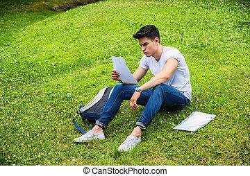 ung, male deltagare, studera, in, stad parkera