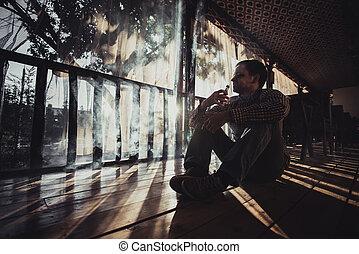 ung man, användande, vapourizer, som, rökning, alternativ