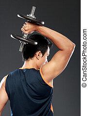 ung man, exercerande, weightlift