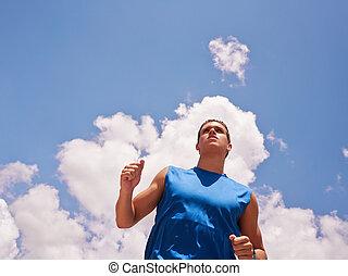 ung man, gör, sports, gångmatta, joggning, blåttsky