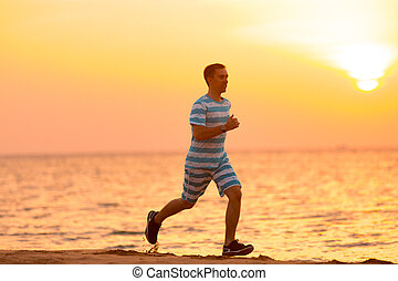 ung man, joggning, hos, soluppgång