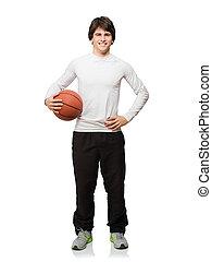 ung man, med, basketboll