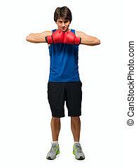ung man, med, boxning handske