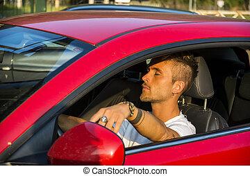 ung man, sova, insida, hans, bil, förbrukad
