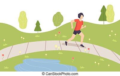 ung man, spring, i park, grabb, gör, fysisk, aktiviteter, utomhus, frisk livsstil, och, fitness, vektor, illustration