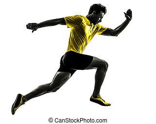 ung man, sprinter, gångmatta, spring, silhuett
