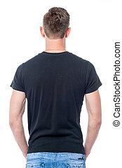 ung man, stående, med, hans, räcker, in, hans, fickor