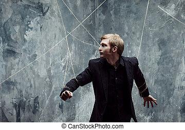 ung man, tries, till bräck, den, shackles., begrepp, av,...