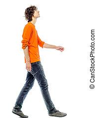 ung man, vandrande, sett upp, sida se