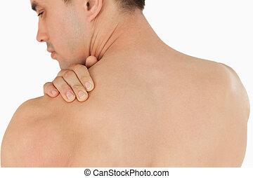ung, manlig, med, hals smärta