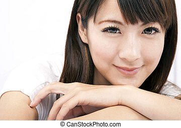 ung, och, vacker, asiatisk kvinna, med, le