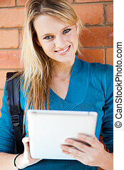 ung, ollege, student, användande, kompress, dator