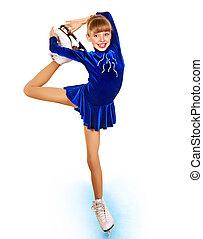ung pige, figur, skating.