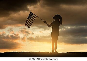 ung pige, holde, amerikaner flag, hos, sunset.