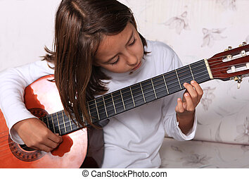 ung pige, spill, classical guitar