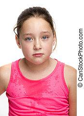 ung pige, trætt, af, oplæring