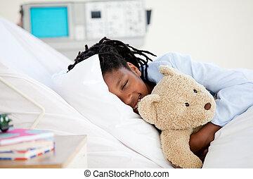 ung pojke, in, sjukhus
