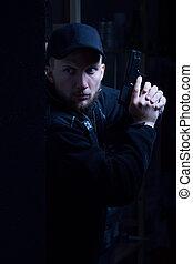 ung, polisman, holdingen, handeldvapen