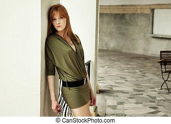 ung, redhead, kvinna