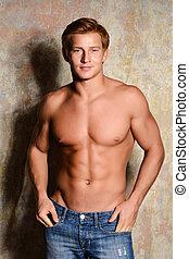 ung, sexig, muskulös, macho man, framställ, med, naken, torso