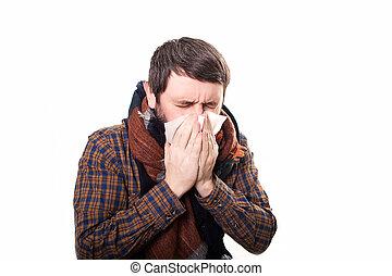 ung, sjuk, och, sjuk, manen bäddar ned in, holdingen, vävnad, rensning, snor nos, ha, temperatur, känsla, dålig, infected, av, vinter, influensa, virus, in, influensa, och, influensa, hälsa varsamhet, begrepp