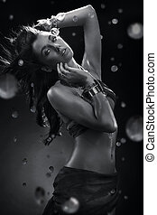ung, skönhet, dansande, med, vatten, plaska