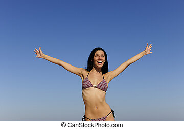 ung, strand, lycklig woman