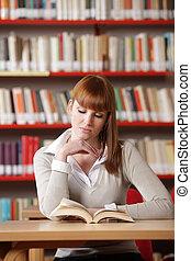 ung, student, in, a, bibliotek