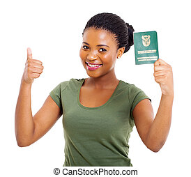 ung, svart, sydafrikansk, flicka, dokument, identitet