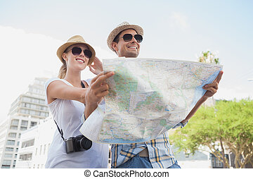 ung, turist, par, användande, den, karta