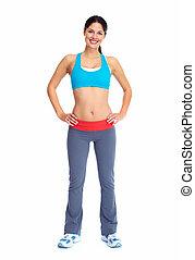 ung, vacker, fitness, woman.
