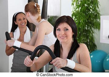 unga kvinnor, gör, fitness