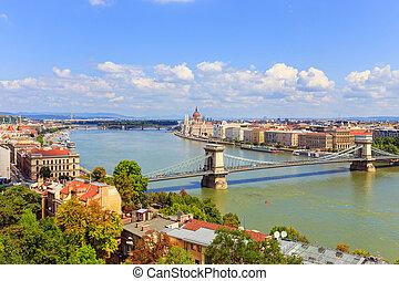 ungarn, donau, panoramisch, budapest, ansicht, fluß, europa