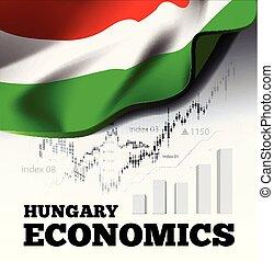 ungarn, volkswirtschaft, vektor, abbildung, mit, ungarisches kennzeichen, und, geschaeftswelt, tabelle, balkendiagramm, bestand, zahlen, hausse, uptrend, linie diagramm, symbolisiert, der, wachstum