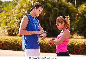 ungdomar, sportutbildning, fitness, fitwatch, steg, disk