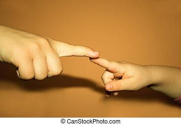 unge, æn, røre, en anden, hænder, baby
