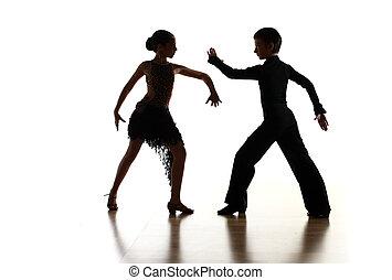 unge, dansere, ind, latinsk, dans poser