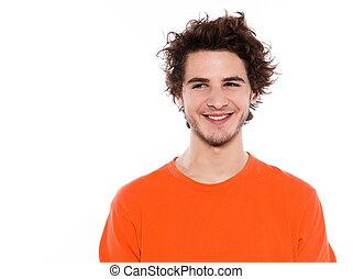 unge, fin, portræt, smile mand, køle