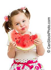 unge, flicka, ätande vattenmelon, isolerat, vita, bakgrund