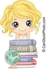 unge, flicka, böcker, illustrationgeografi