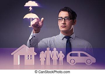 unge, forretningsmand, ind, forsikring, begreb