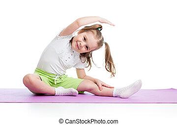 unge, gör, fitness, träningen