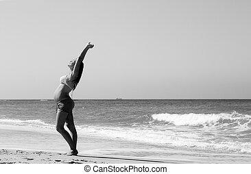 unge, gravid kvinde, gå, stranden