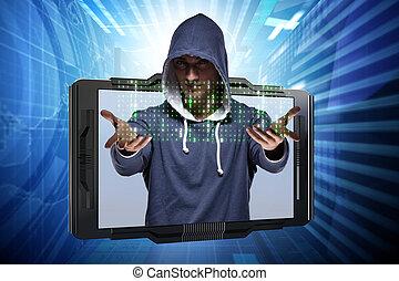 unge, hacker, ind, cyber, garanti, begreb